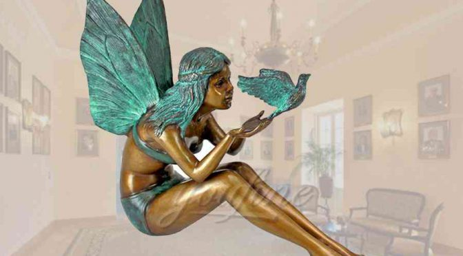 Lovely casting customized fairy bronze garden statue with dove