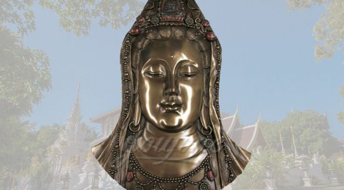 Decorative exquisite detailed bronze Kuanyin bust statue
