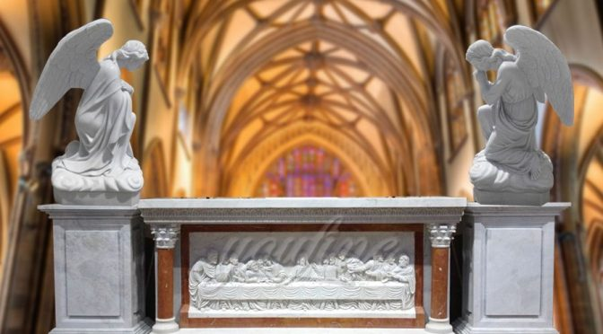 Custom Marble Church Altar Designs with Angel Statue