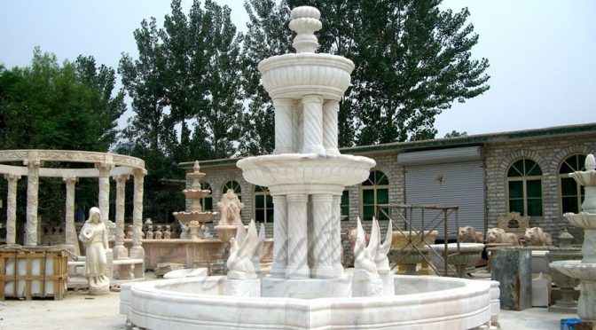 Garden Stone Swan Marble Water Fountain Price
