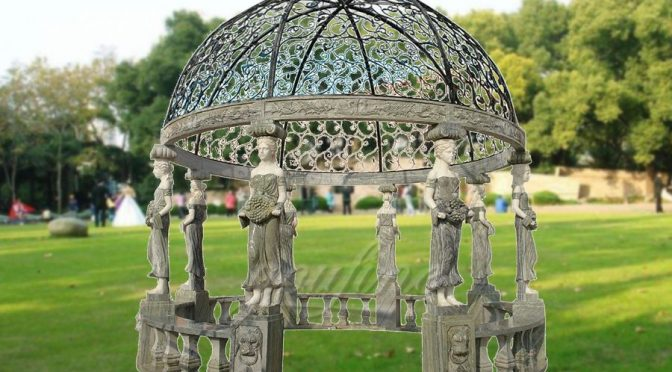 2017 popular marble carving figure stone gazebo
