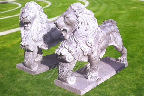 Decorative outdoor garden marble lion statues
