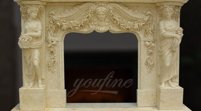 Decorative classical beige marble fireplace mantel for sale