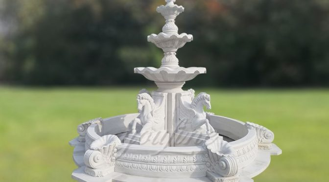 Garden White Marble Horse Water Fountain For Sale