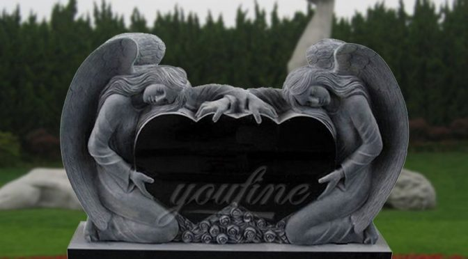 Granite heart headstone angel design for sale