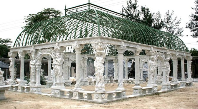 Hand Carved Large Outdoor Garden Marble Gazebo