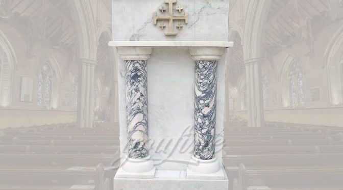 Hand Carved White Marble Ambo and Pulpits for Church
