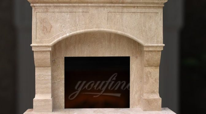 High quality Victorian beige marble fireplace mantel for sale