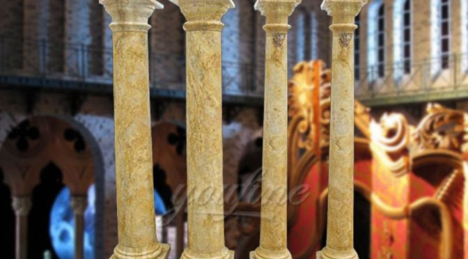 Hot sale natural stone beige marble columns for wedding decoration