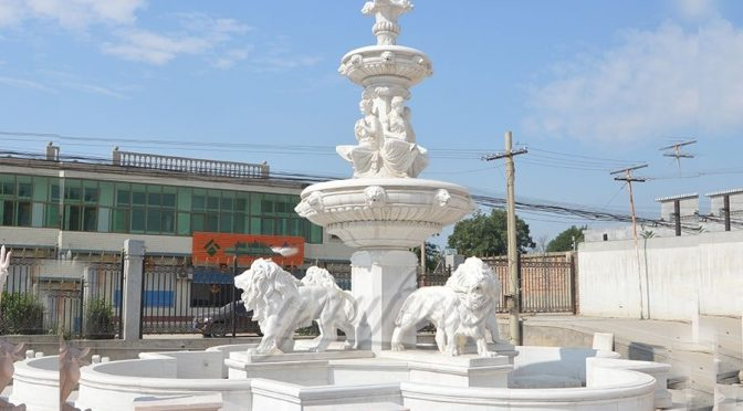 Large Animal Outdoor White Marble Lion Fountain