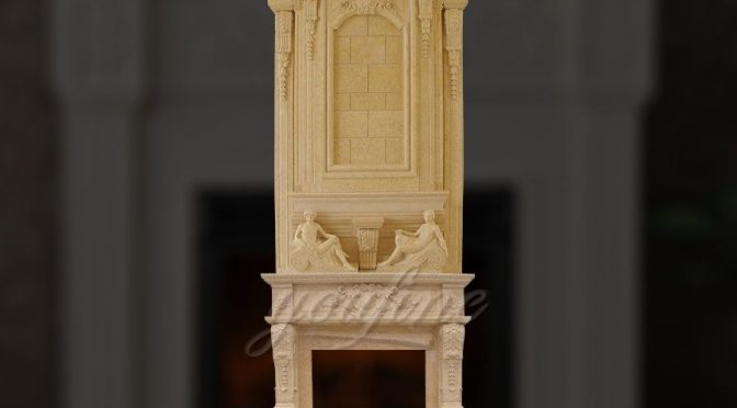 Large carved statue beige marble fireplace over mantel for sale