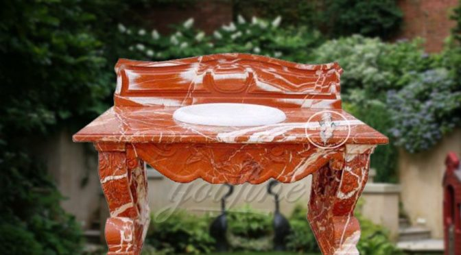 Luxury red marble bathroom wash hand basin for sale