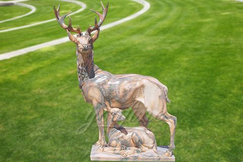 Outdoor natural carved marble deer statue