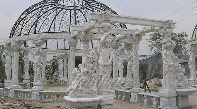Popular designs outdoor marble carving garden luxury gazebo