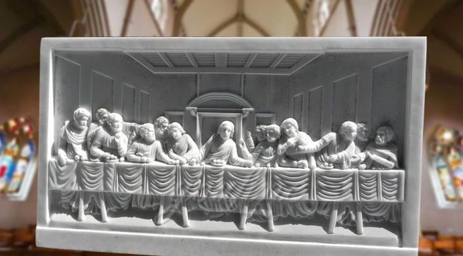 Religious Theme The Last Supper Decorative Marble Relief Sculpture