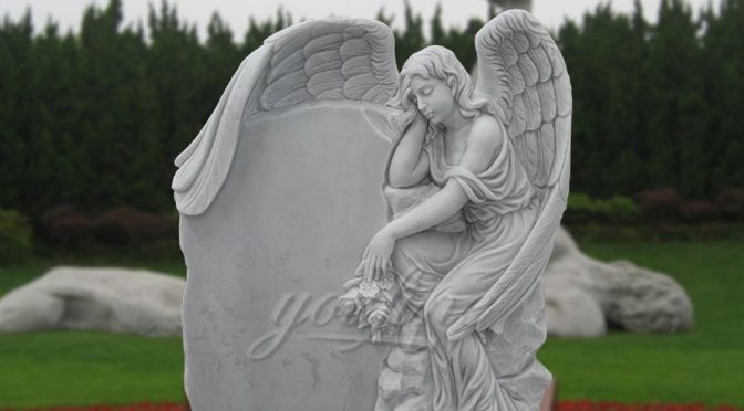 Sleeping White Angel Marble Headstone for Sale