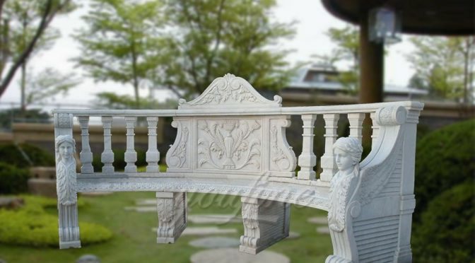White hand craft garden marble bench for sale